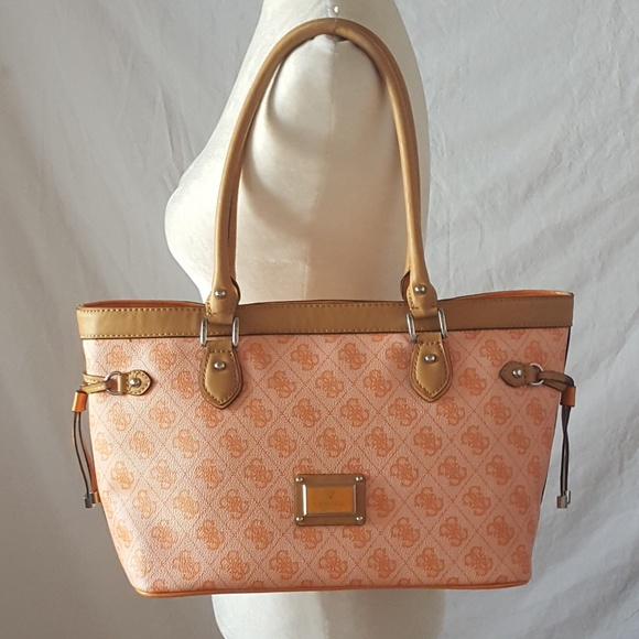 17caa0a25ef Guess Bags   Peach Orange Logo Tote   Poshmark